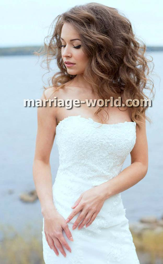 photo of russian bride in white dresss