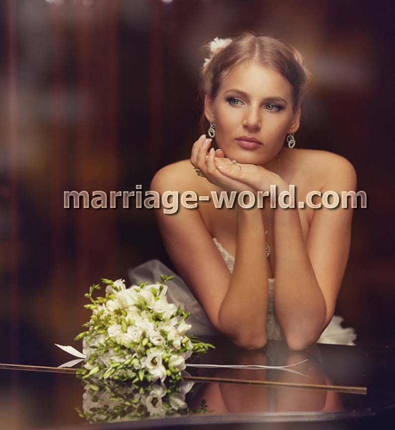 russian bride with flowers