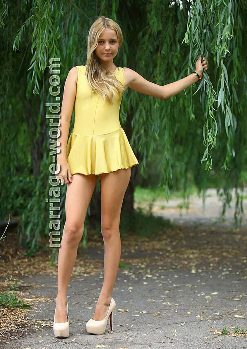 russian girl in miniskirt and high heels