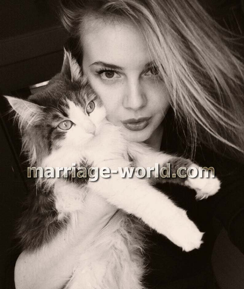 russian woman with cat
